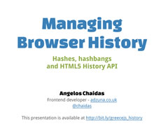 Presentation: Managing Browser History